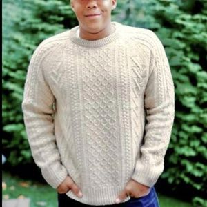 Jcrew Rugged Merino Wool Blend Donegal Cable knit crewneck sweater